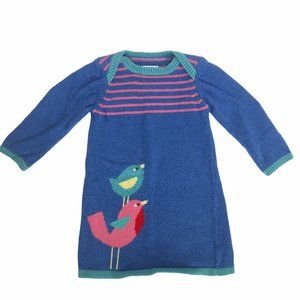 BABY BODEN BLUE KNIT BIRD SWEATER DRESS